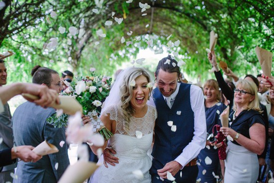 Flower petal exit for newlyweds