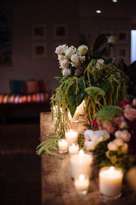 Flowers and candles at wedding