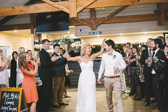 Fun wedding reception entrance