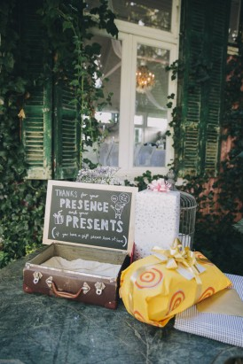 GGift suitcase at wedding