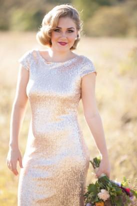 Gold sewuin wedding dress