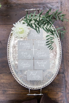 Grey Placecards on silver platter