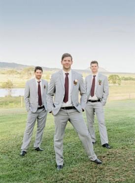 Groom and groomsmen in marsala ties