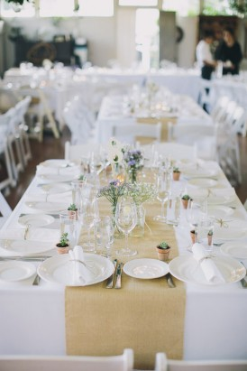 HEssian wedding table
