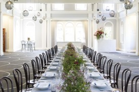 Hire of glassware, black cutlery, pressed metal bar, banquet tables by Place Settings