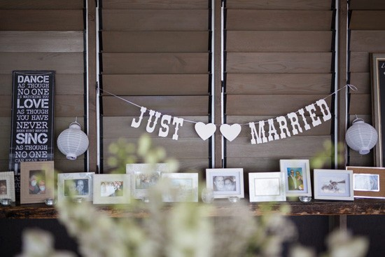 Just married wedding decor