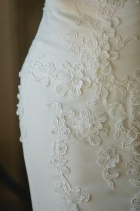 Lace applique qedding gown