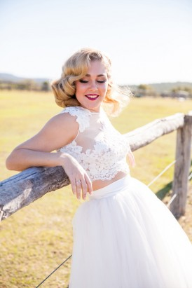 Lace crop top wedding gown