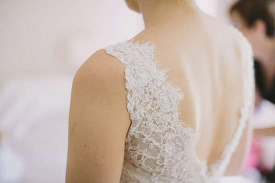 Lace shoulder wedding dress detail