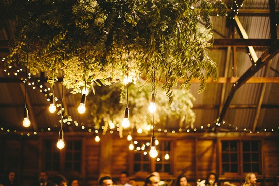 Lighting from suspended greenery at wedding