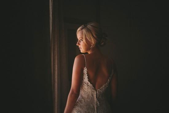 Low v back wedding dress