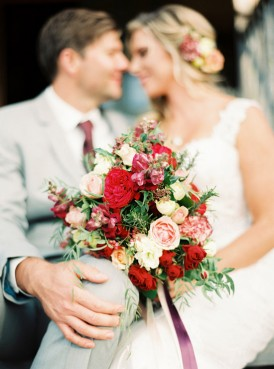 Marsala and peach bouquet