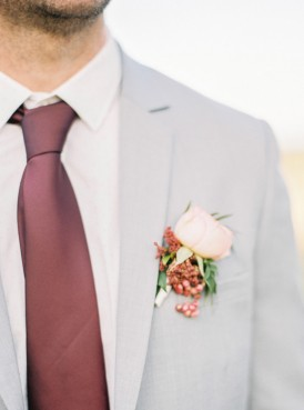 Marsala tie with pale grey suit