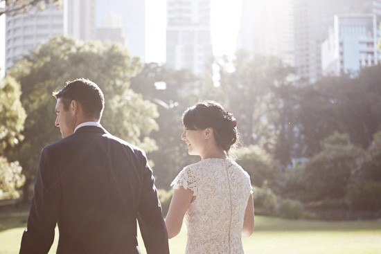 Melbourne CBD garden wedding photo