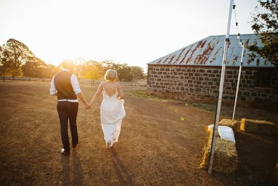 Newlywed sunset photo in Australia