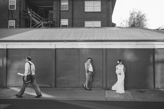 Newlyweds urban wedding photo