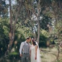 Newlyweds wedding portrait in country