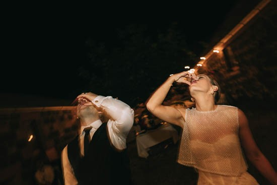 Newlyweds with shots at wedding
