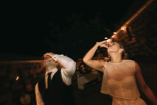 Newlyweds with shots at wedding