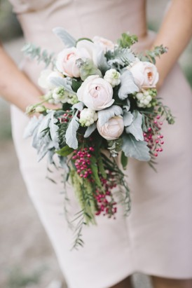 Peach rose and pepper berry bouquet