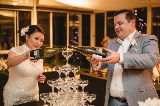 Pouring champagne tower