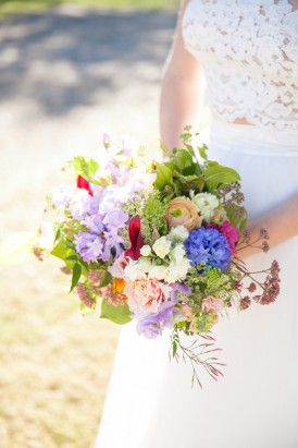 Purple and red wedding bouquet