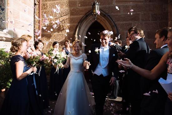 Rose petal toss at Sydney church wedding