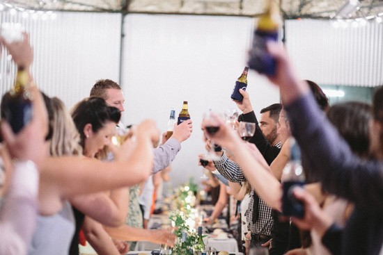 Toasting bride and groom