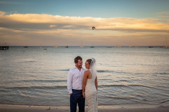 Waterside wedding photo