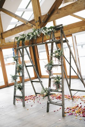 Wedding arch made out of ladders