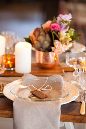 Wedding decor in copper