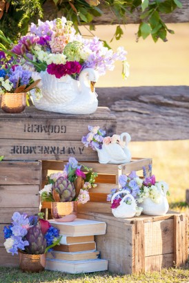 Wedding floral arrangements with swans