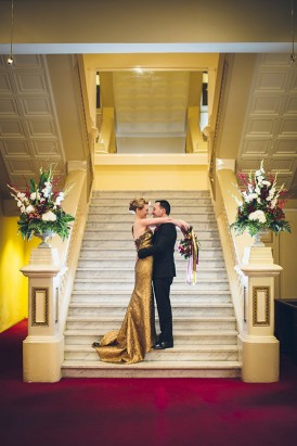 Wedding portrait on stairs