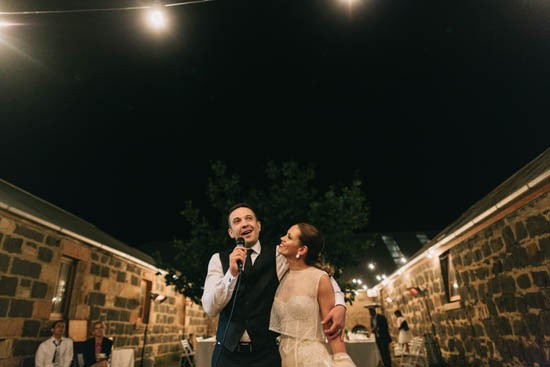 Wedding speeches outdoors at Country wedding