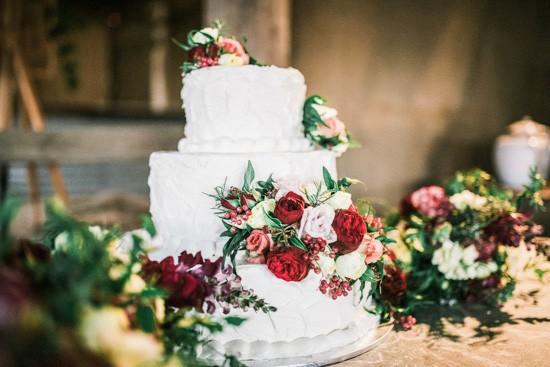 White wedding cake with marsala