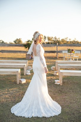 bride at ceremony in country
