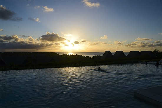 Intercontinental Fiji CLub Level Pool At Sunset