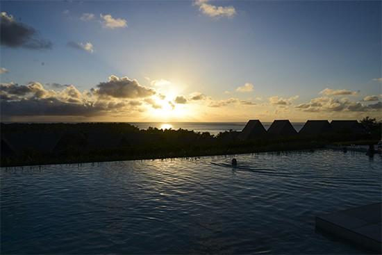 Intercontinental Fiji CLub Level Pool At Sunset