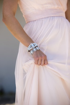 Pale pink gown with crystal accessories