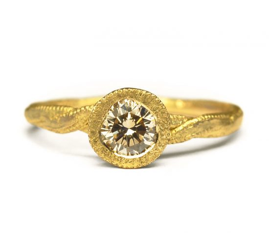 18-carat--Yellow-Gold-&-Champagne-Diamond-Bezel-Ring
