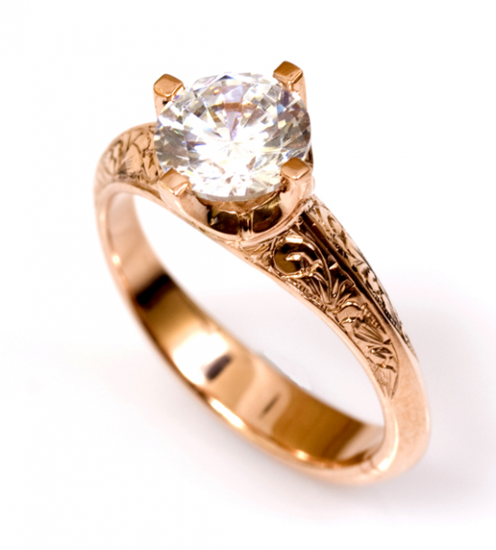 Rose gold solitaire rinf