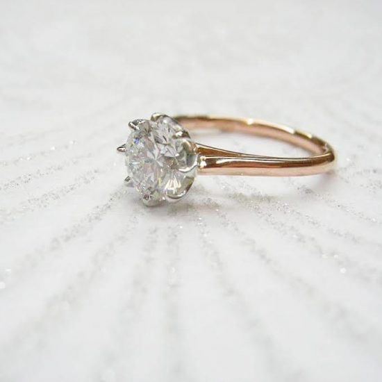 Soliaire Engagement Ring With Gold Band