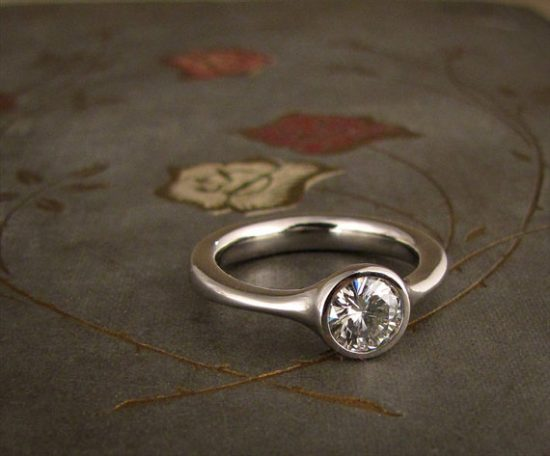 low profile solitaire engagement ring