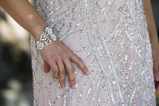 Sequin gown with crystal bangle