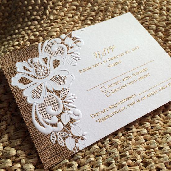 Rustic Lace Wedding Invitation RSVP_700