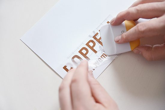 Removing trasnfer tape from copper foil