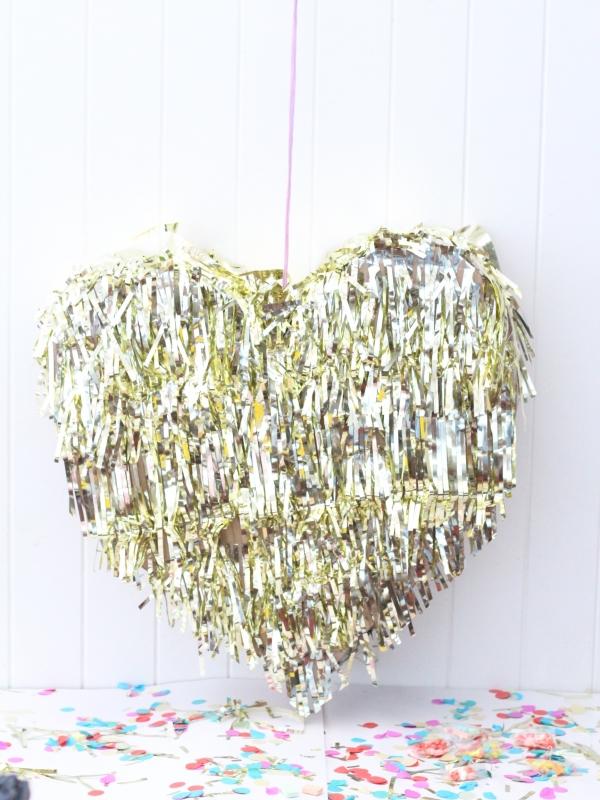 DIY gold foil pinata polka dot bride