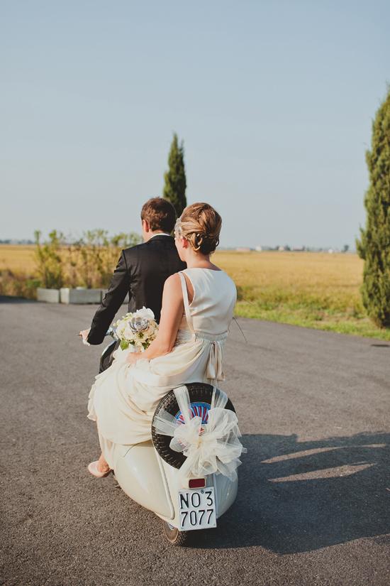 Newlyweds on vespa
