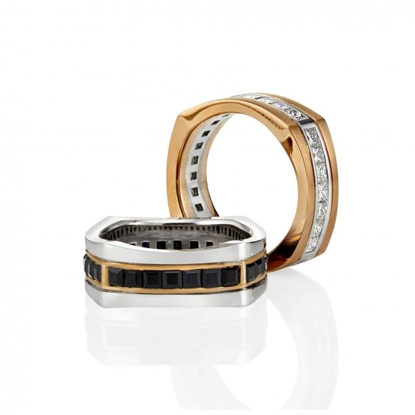Gemstone wedding bands. Image via Mondial