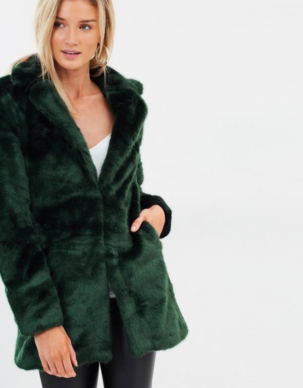 Emerald Green faux fur jacket